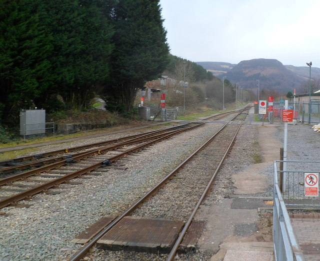 Stop sign at the Treherbert end of the Rhondda Line