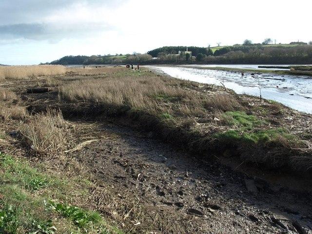 Muddy shore of River Teign near Passage House Inn