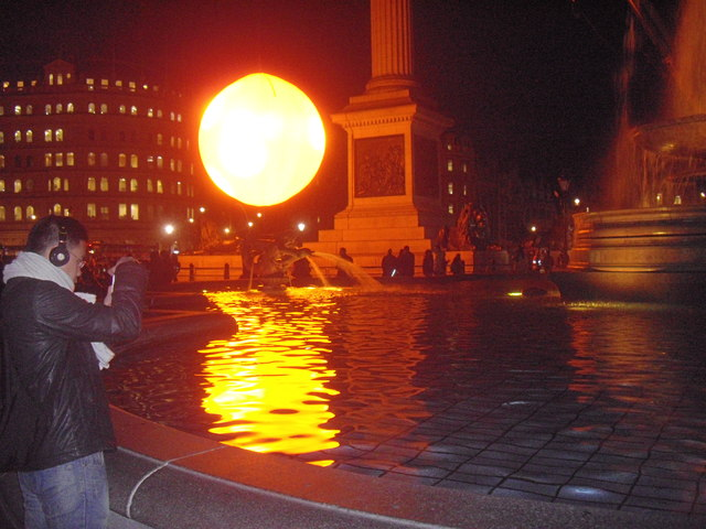 Giant 'sun' rising over Trafalgar Square