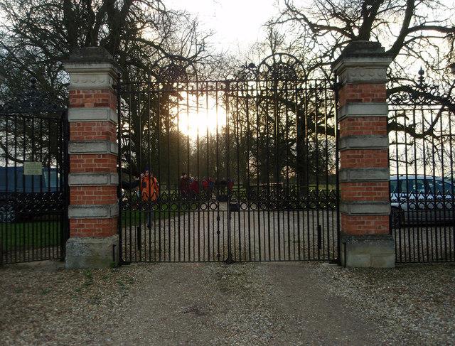 Lodge gates at sunset