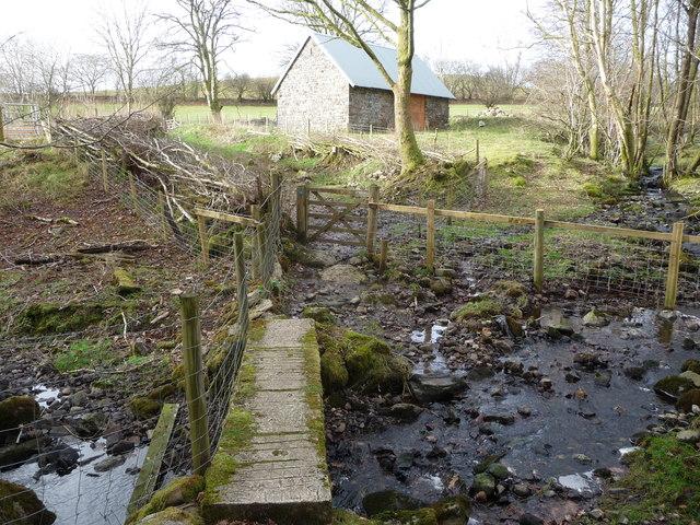Old concrete footbridge on the Nant-y-carad