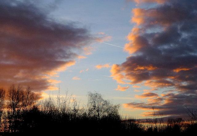 A wintery sky over Castle Meads