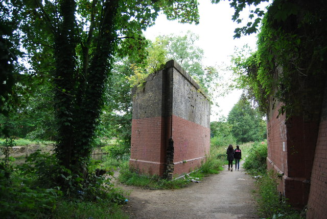 Remains of an old railway bridge