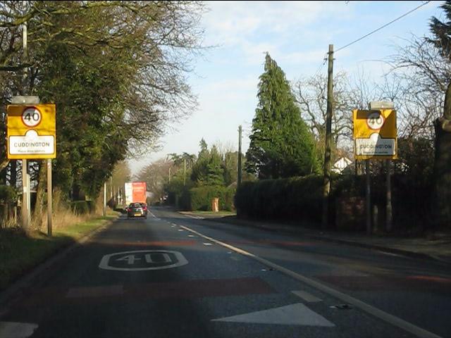 A49 entering Cuddington