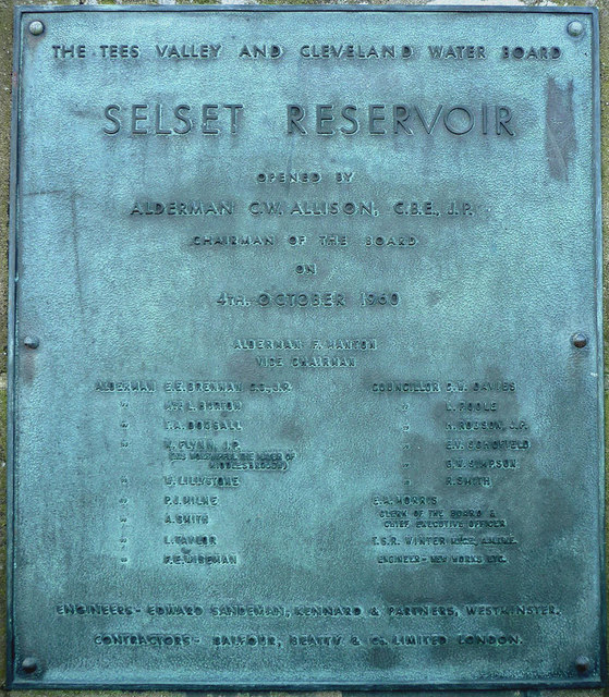 Commemorative plaque, Selset Reservoir