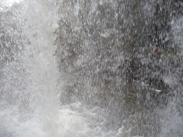 Behind Sgwd yr Eira waterfall