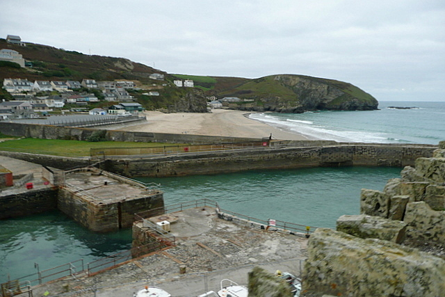 Portreath harbour and beach