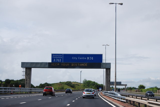 Approaching Junction 3, M74