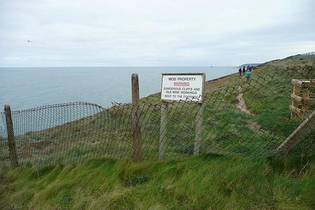 Coastal path entering MOD property