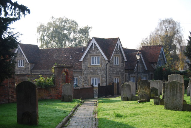 Almshouses and churchyard