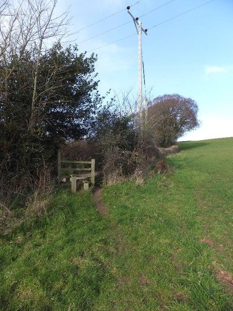 Stile on footpath from Brickhouse Farm to Mowlish