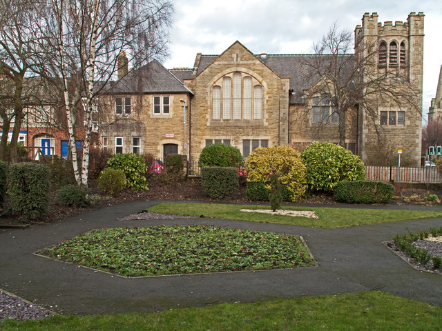 Park and church in Bishop Auckland