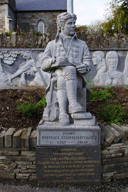 Statue of the poet Brian Merriman, Church Street, Ennistymon
