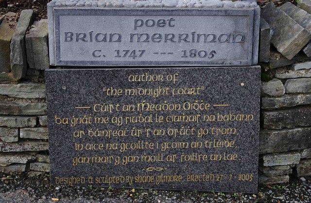Inscription under the statue of the poet Brian Merriman, Church Street, Ennistymon