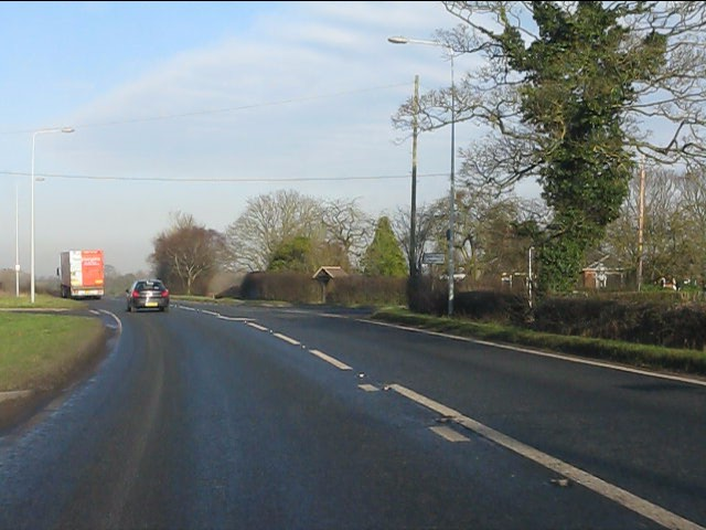 A49 at Marsh Lane/ Heath Lane crossroads
