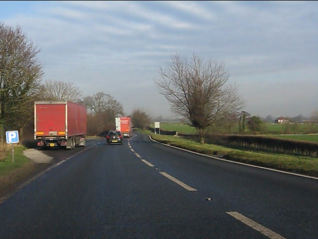 Northbound layby on the A49