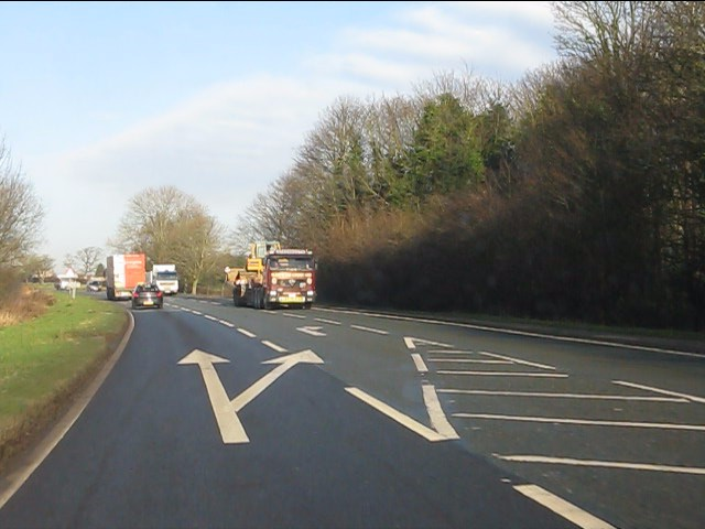 A49 approaching the junction for Lower Whitley