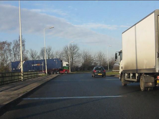 Northbound A49 bridging the M56