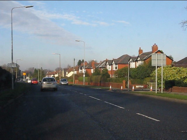 London Road (A49) at Dudlow Green Road