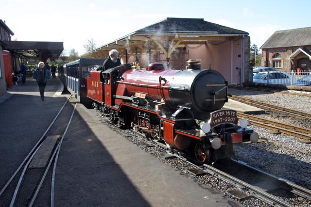 Ravenglass Railway Terminus with the River Mite Locomotive