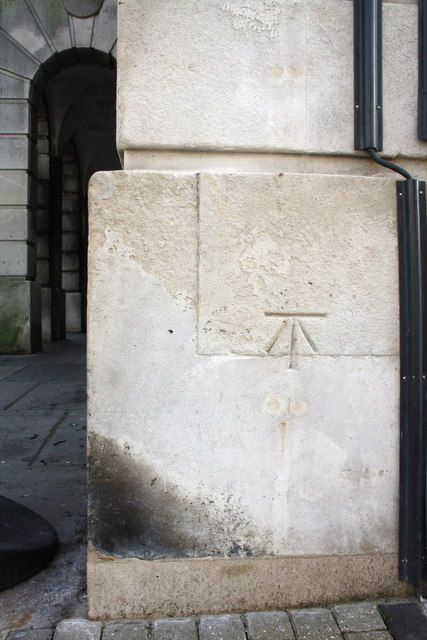 Benchmark on the St Mary Street face of the Guildhall