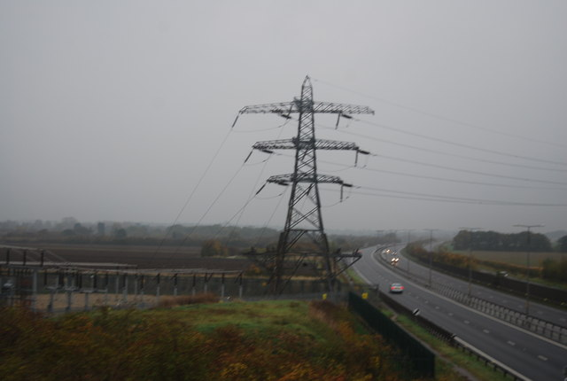 Sub station and pylon by the A299