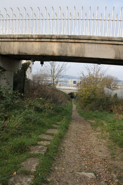 View down disused tramway
