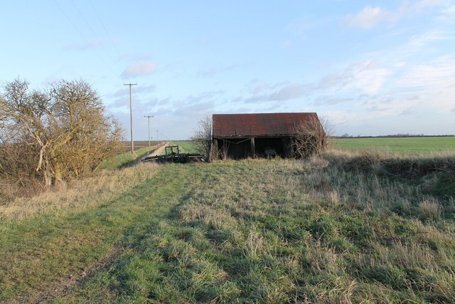 Old barn and track along drain
