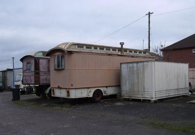 Old caravans in Edwards Amusement Depot, Ferndale Road, Swindon
