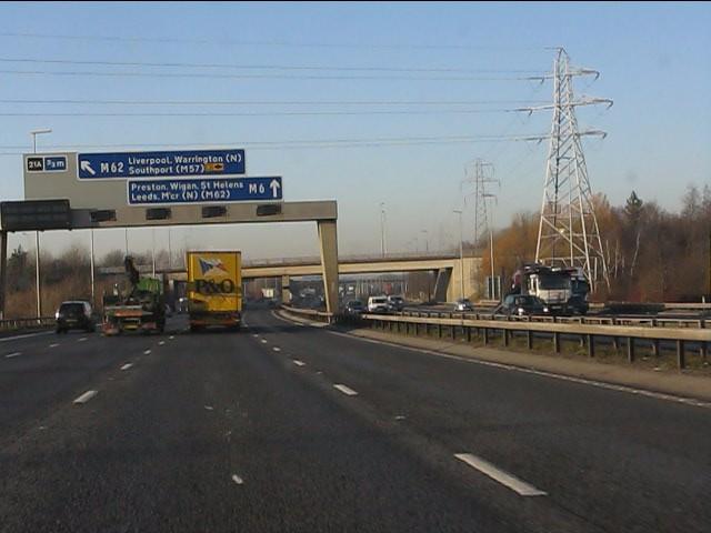 M6 motorway crossed by power lines