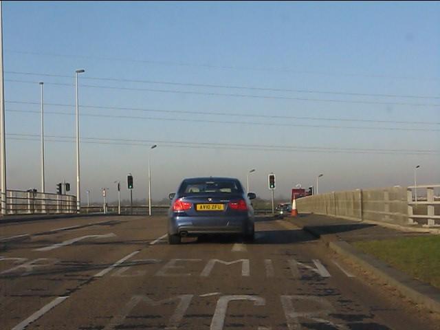 M62 motorway - western roundabout bridge, junction 8