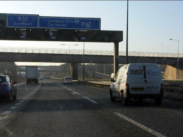 M62 motorway approaching junction 6