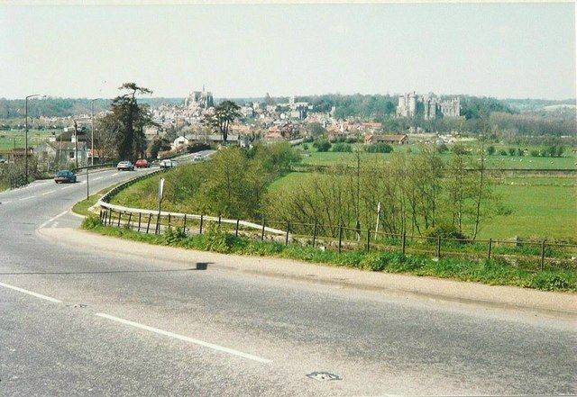Panorama of Arundel from the A27 bypass in 1988