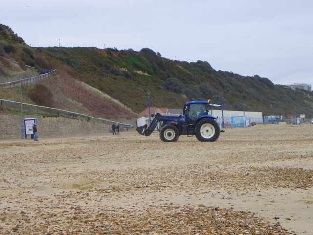 Tractor on Boscombe Beach