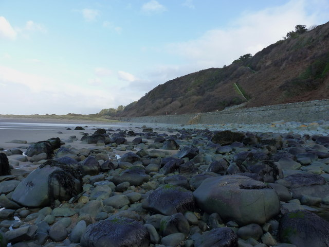Boulders, sand and the railway wall at the south end of Harlech beach