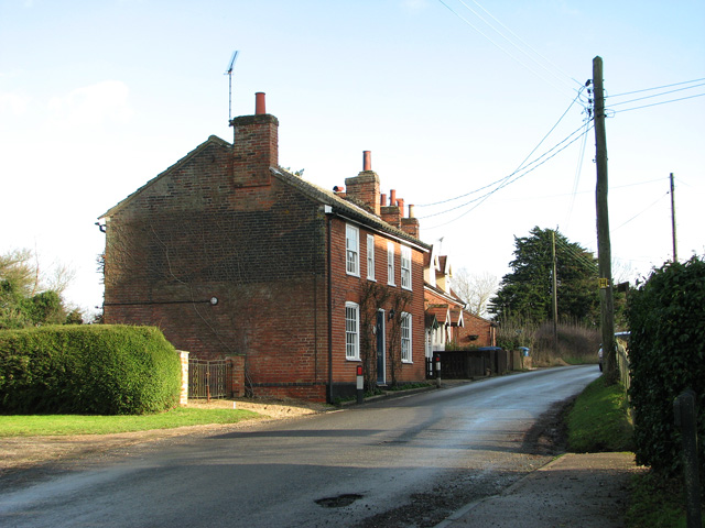 Cottages opposite St Mary's church, Burstall