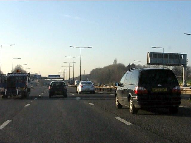 M62 motorway approaching junction 9