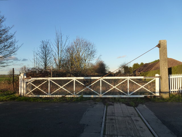Coldham level crossing looking towards Wisbech