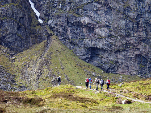 Walking party on path in Coire Ardair