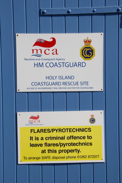 Holy Island Coastguard Rocket House warnings