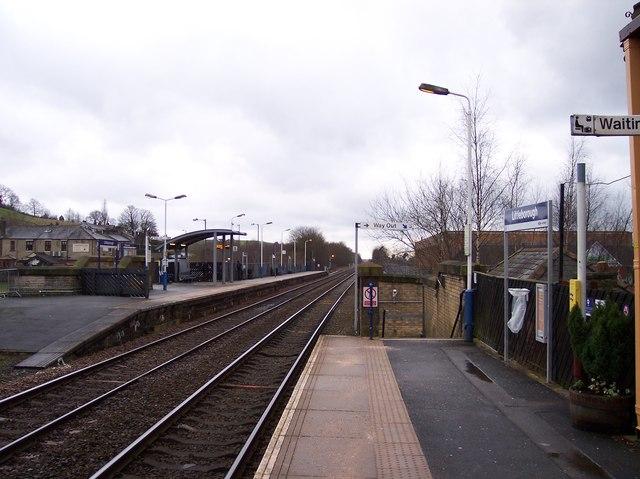 The offset platforms at Littleborough railway station