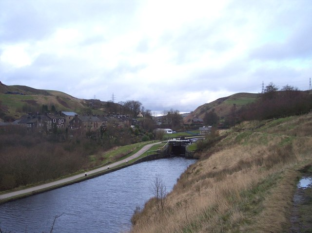 The lock below Chelburn Bridge on Rochdale Canal