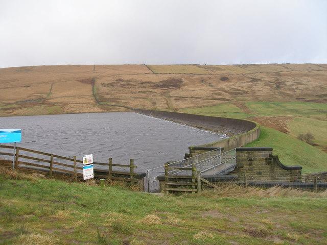 The dam at Deanhead Reservoir