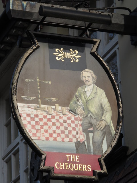 Sign for The Chequers, Church End, NW4
