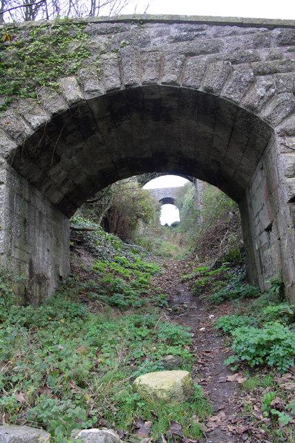 View up incline through Verne Hill Road bridge
