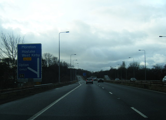 M53 spur road approaching Junction 2A