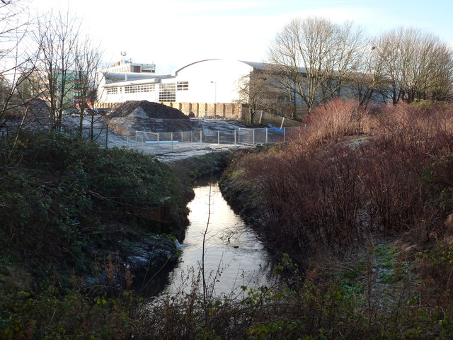 Chorlton Brook and the route of the Metrolink extension towards Manchester Airport
