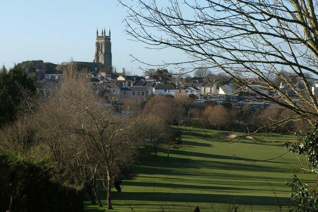 Golf course and church,  St Marychurch