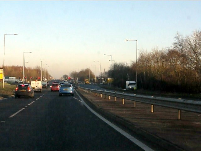 A580 approaching the A5208 junction