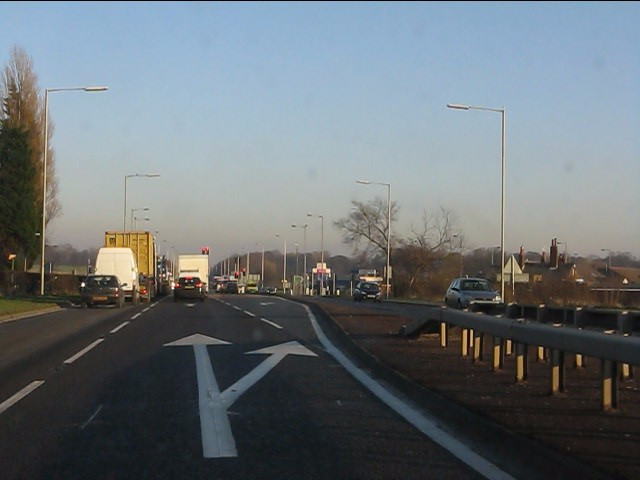 A580 approaching the A570 intersection